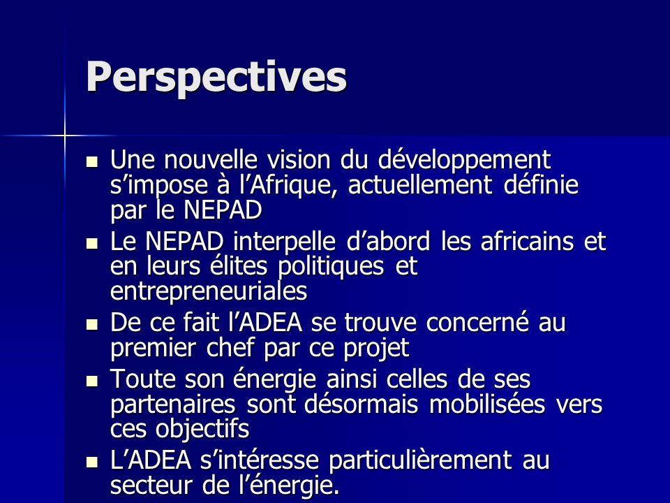 Perspectives Une nouvelle vision du développement simpose à lAfrique, actuellement définie par le NEPAD Une nouvelle vision du développement simpose à