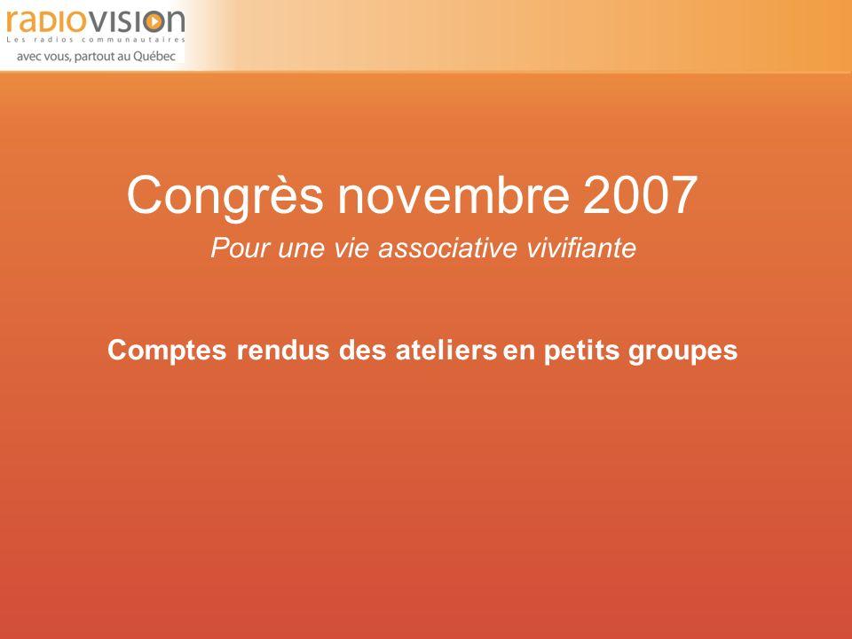 Congrès novembre 2007 Pour une vie associative vivifiante Comptes rendus des ateliers en petits groupes