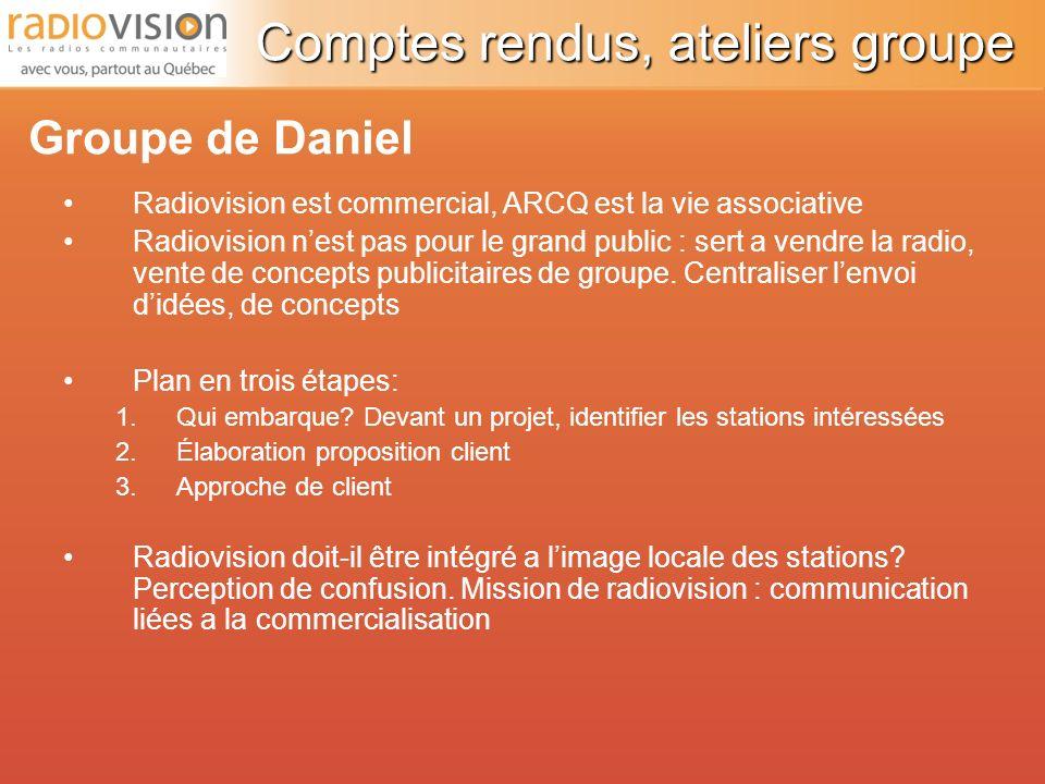Radiovision est commercial, ARCQ est la vie associative Radiovision nest pas pour le grand public : sert a vendre la radio, vente de concepts publicitaires de groupe.