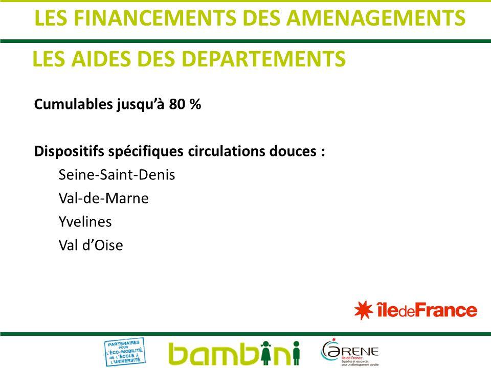 Cumulables jusquà 80 % Dispositifs spécifiques circulations douces : Seine-Saint-Denis Val-de-Marne Yvelines Val dOise LES AIDES DES DEPARTEMENTS LES