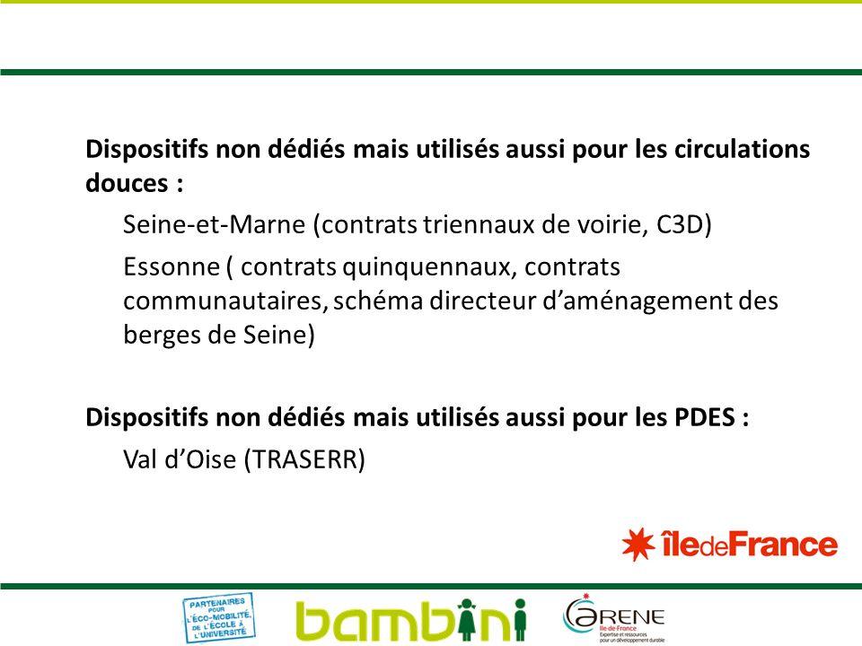 Dispositifs non dédiés mais utilisés aussi pour les circulations douces : Seine-et-Marne (contrats triennaux de voirie, C3D) Essonne ( contrats quinqu
