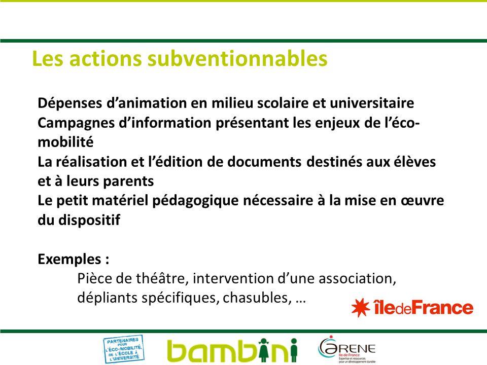 Les actions subventionnables Dépenses danimation en milieu scolaire et universitaire Campagnes dinformation présentant les enjeux de léco- mobilité La