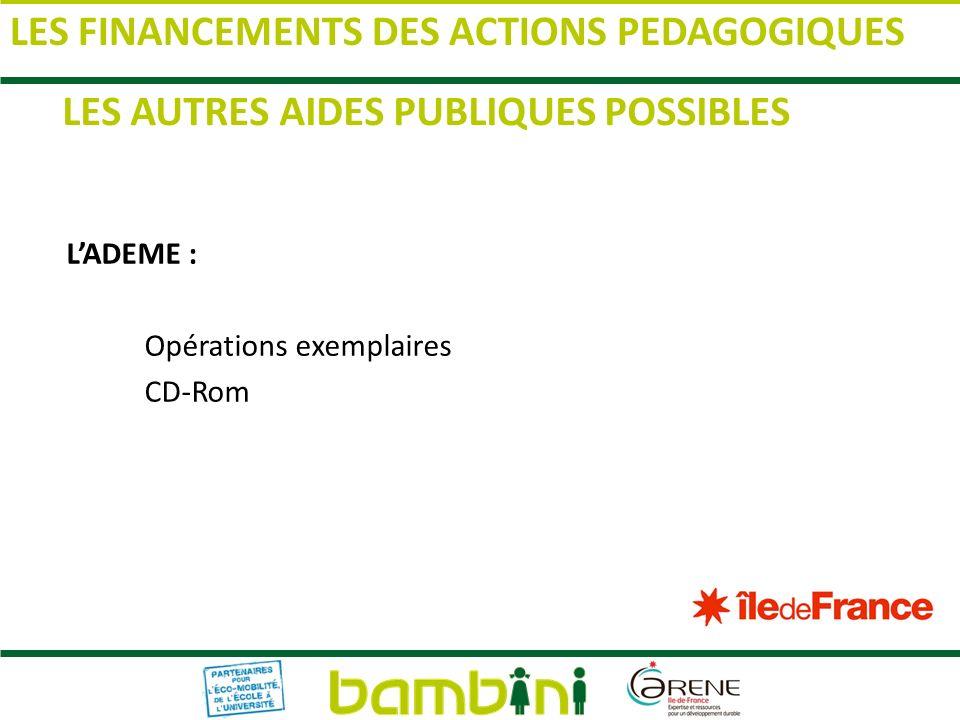 LADEME : Opérations exemplaires CD-Rom LES AUTRES AIDES PUBLIQUES POSSIBLES LES FINANCEMENTS DES ACTIONS PEDAGOGIQUES