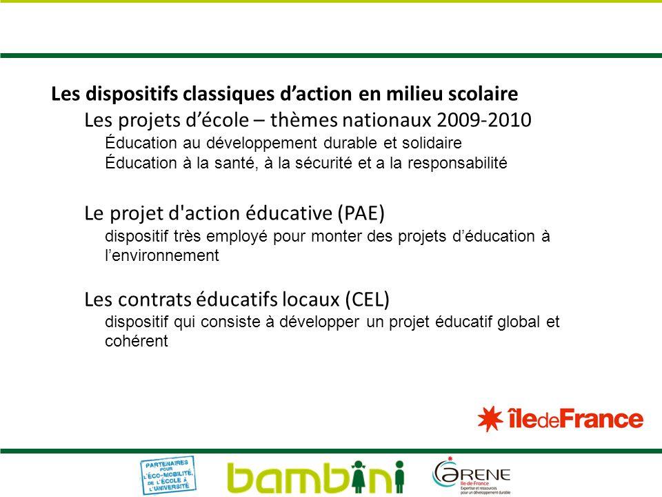 Les dispositifs classiques daction en milieu scolaire Les projets décole – thèmes nationaux 2009-2010 Éducation au développement durable et solidaire