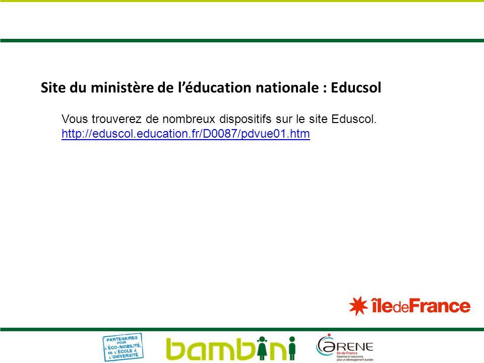 Site du ministère de léducation nationale : Educsol Vous trouverez de nombreux dispositifs sur le site Eduscol. http://eduscol.education.fr/D0087/pdvu