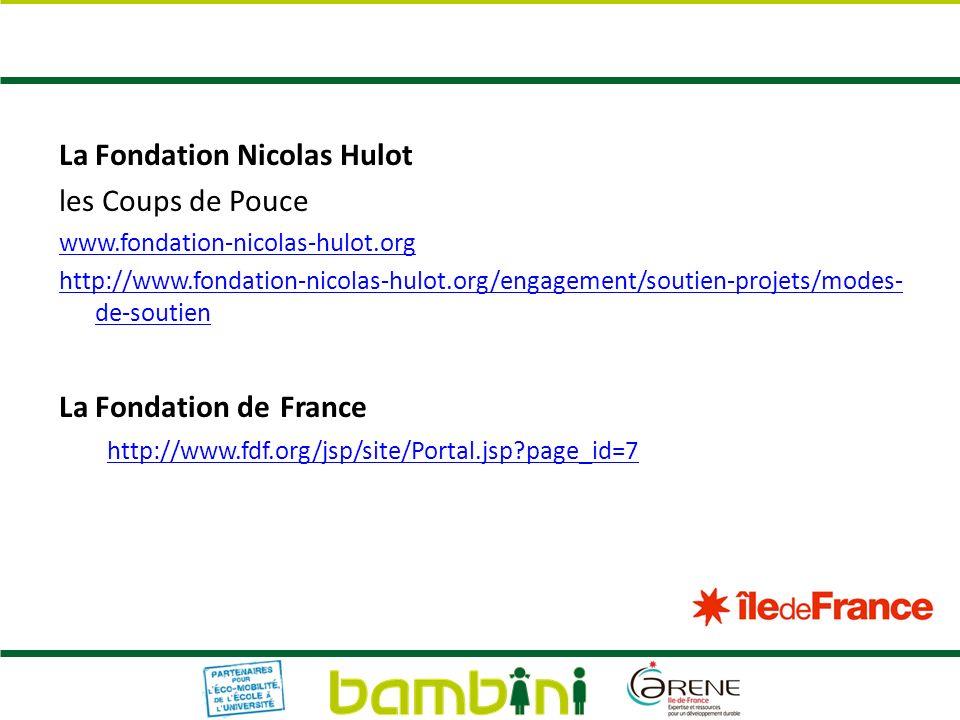 La Fondation Nicolas Hulot les Coups de Pouce www.fondation-nicolas-hulot.org http://www.fondation-nicolas-hulot.org/engagement/soutien-projets/modes-