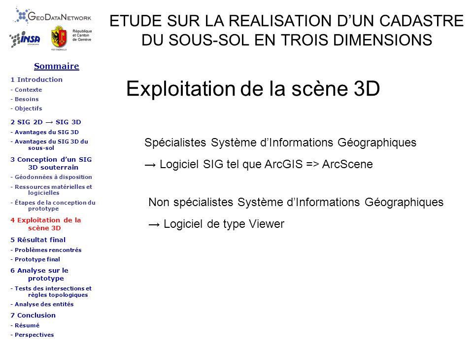 ETUDE SUR LA REALISATION DUN CADASTRE DU SOUS-SOL EN TROIS DIMENSIONS Exploitation de la scène 3D Sommaire 1 Introduction - Contexte - Besoins - Objec