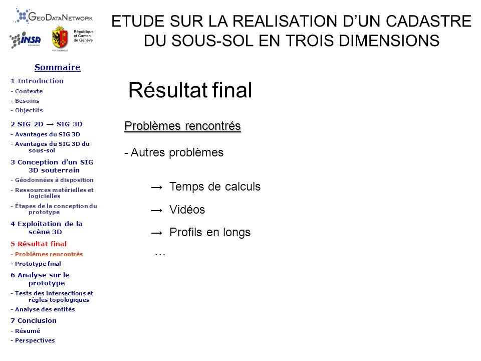 ETUDE SUR LA REALISATION DUN CADASTRE DU SOUS-SOL EN TROIS DIMENSIONS Résultat final Sommaire 1 Introduction - Contexte - Besoins - Objectifs 2 SIG 2D
