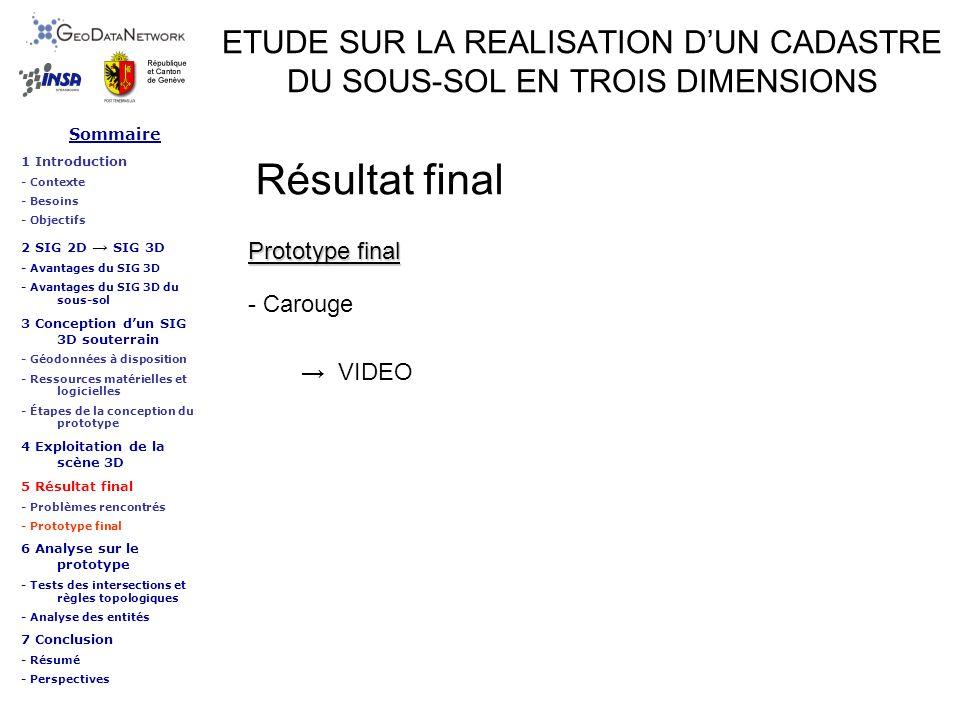ETUDE SUR LA REALISATION DUN CADASTRE DU SOUS-SOL EN TROIS DIMENSIONS Résultat final VIDEO Prototype final - Carouge Sommaire 1 Introduction - Context