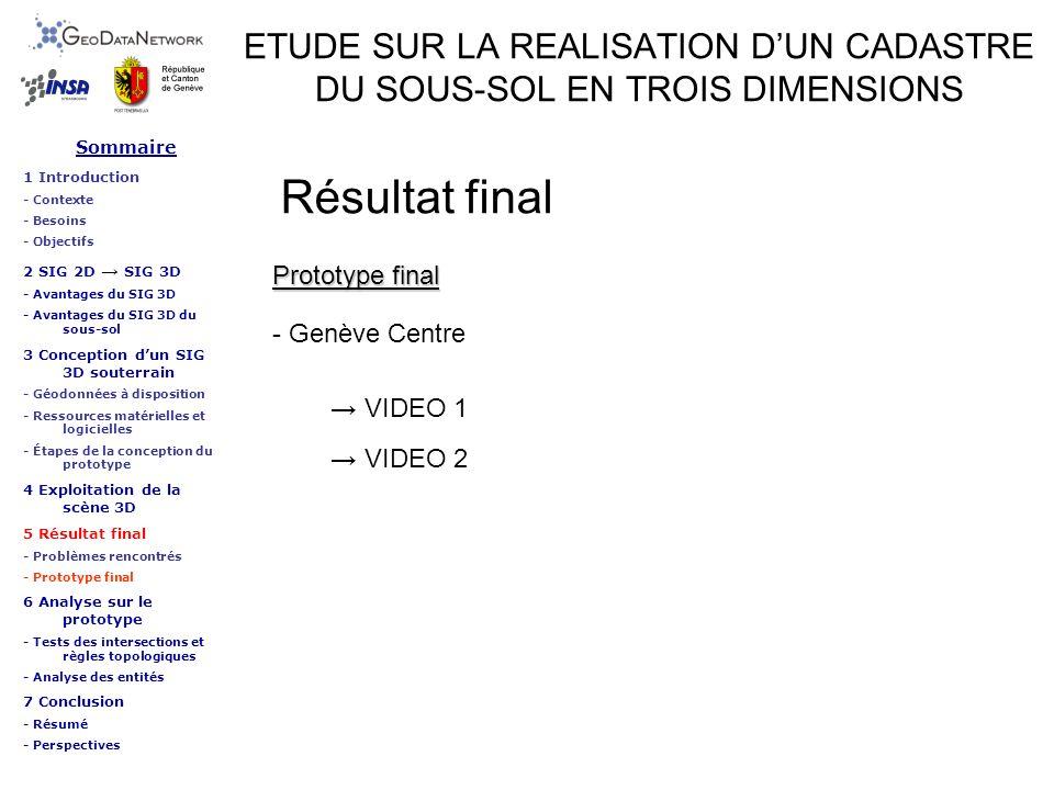 ETUDE SUR LA REALISATION DUN CADASTRE DU SOUS-SOL EN TROIS DIMENSIONS Résultat final VIDEO 1 Prototype final - Genève Centre VIDEO 2 Sommaire 1 Introd