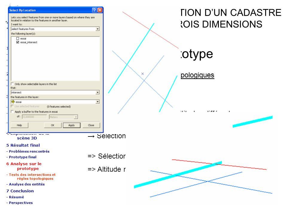 => Sélection effectuée en 2D, => Altitude non prise en compte Sélection des entités intersectées ETUDE SUR LA REALISATION DUN CADASTRE DU SOUS-SOL EN