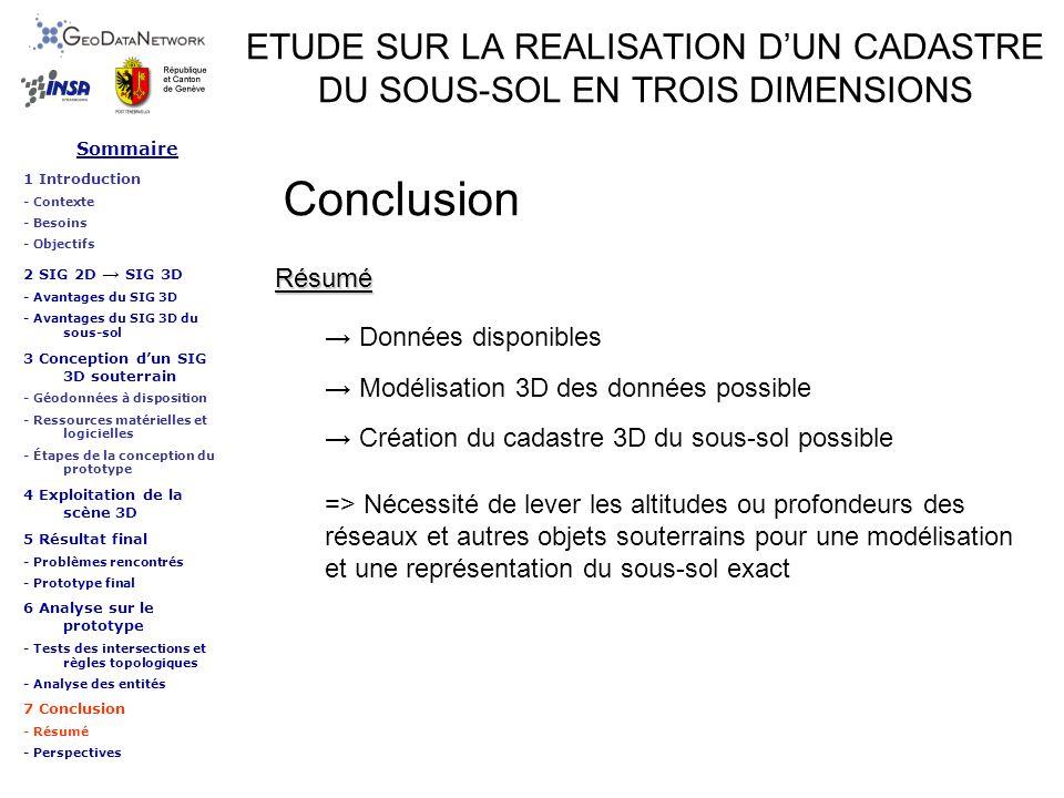 Sommaire 1 Introduction - Contexte - Besoins - Objectifs 2 SIG 2D SIG 3D - Avantages du SIG 3D - Avantages du SIG 3D du sous-sol 3 Conception dun SIG