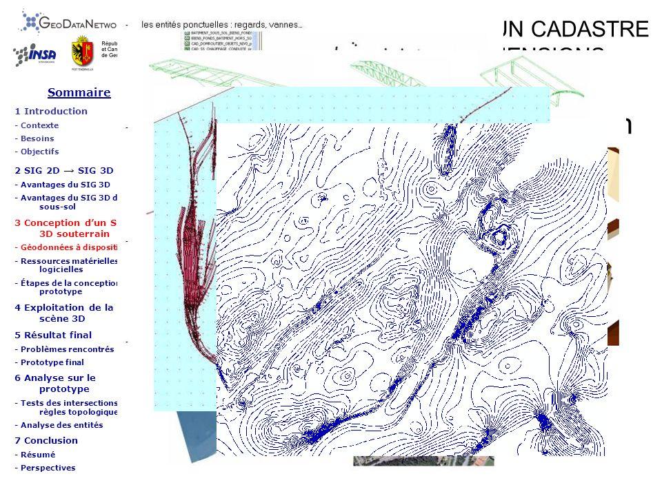 ETUDE SUR LA REALISATION DUN CADASTRE DU SOUS-SOL EN TROIS DIMENSIONS Conception dun SIG 3D souterrain Sommaire 1 Introduction - Contexte - Besoins - Objectifs 2 SIG 2D SIG 3D - Avantages du SIG 3D - Avantages du SIG 3D du sous-sol 3 Conception dun SIG 3D souterrain - Géodonnées à disposition - Ressources matérielles et logicielles - Étapes de la conception du prototype 4 Exploitation de la scène 3D 5 Résultat final - Problèmes rencontrés - Prototype final 6 Analyse sur le prototype - Tests des intersections et règles topologiques - Analyse des entités 7 Conclusion - Résumé - Perspectives Étapes de la conception du prototype - Modélisation 3D des entités : Réseau dassainissement des eaux Regards et chambres du RAE Entités ponctuelles Zones tampons Extrusion des chambres