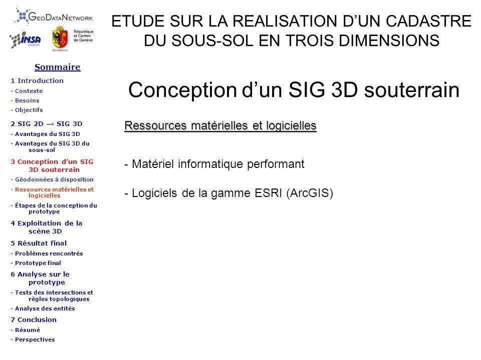 Sommaire 1 Introduction - Contexte - Besoins - Objectifs 2 SIG 2D SIG 3D - Avantages du SIG 3D - Avantages du SIG 3D du sous-sol 3 Conception dun SIG 3D souterrain - Géodonnées à disposition - Ressources matérielles et logicielles - Étapes de la conception du prototype 4 Exploitation de la scène 3D 5 Résultat final - Problèmes rencontrés - Prototype final 6 Analyse sur le prototype - Tests des intersections et règles topologiques - Analyse des entités 7 Conclusion - Résumé - Perspectives ETUDE SUR LA REALISATION DUN CADASTRE DU SOUS-SOL EN TROIS DIMENSIONS Conclusion Données disponibles Résumé Création du cadastre 3D du sous-sol possible Modélisation 3D des données possible => Nécessité de lever les altitudes ou profondeurs des réseaux et autres objets souterrains pour une modélisation et une représentation du sous-sol exact
