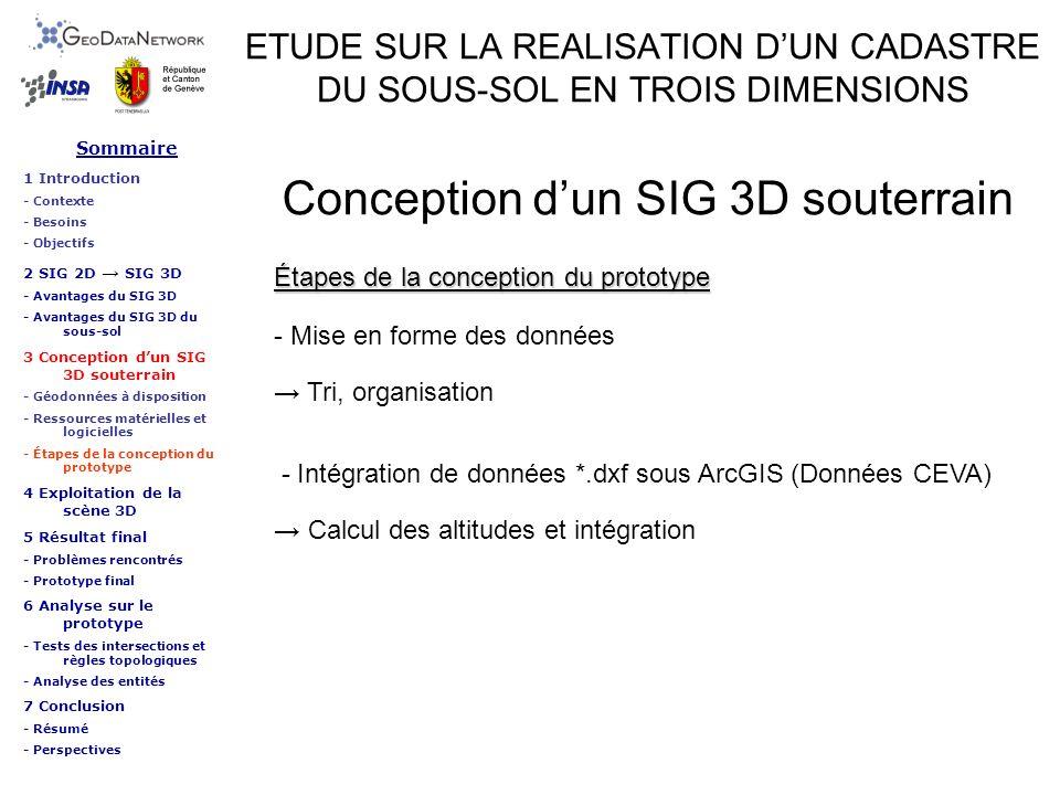 ETUDE SUR LA REALISATION DUN CADASTRE DU SOUS-SOL EN TROIS DIMENSIONS Exploitation de la scène 3D Sommaire 1 Introduction - Contexte - Besoins - Objectifs 2 SIG 2D SIG 3D - Avantages du SIG 3D - Avantages du SIG 3D du sous-sol 3 Conception dun SIG 3D souterrain - Géodonnées à disposition - Ressources matérielles et logicielles - Étapes de la conception du prototype 4 Exploitation de la scène 3D 5 Résultat final - Problèmes rencontrés - Prototype final 6 Analyse sur le prototype - Tests des intersections et règles topologiques - Analyse des entités 7 Conclusion - Résumé - Perspectives Logiciel de la gamme ESRI : ArcGIS => ArcScene Logiciel spécialiste SIG Données attributaires Traitements de données Modélisation …