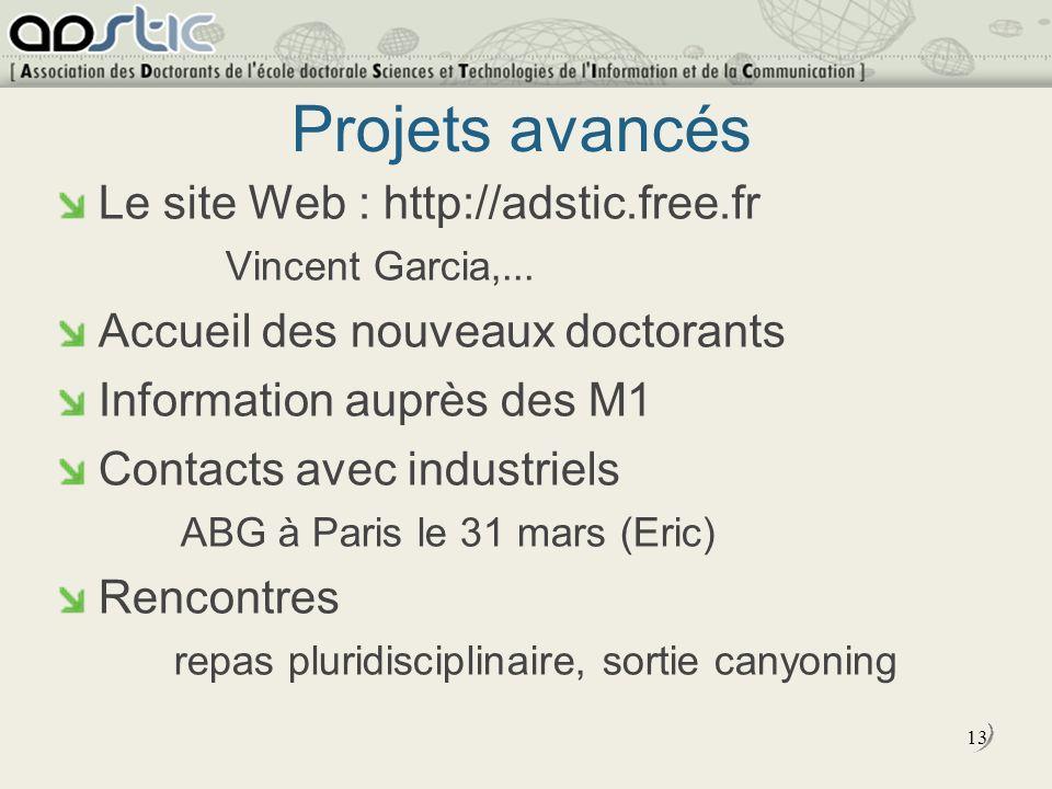 13 Projets avancés Le site Web : http://adstic.free.fr Vincent Garcia,...
