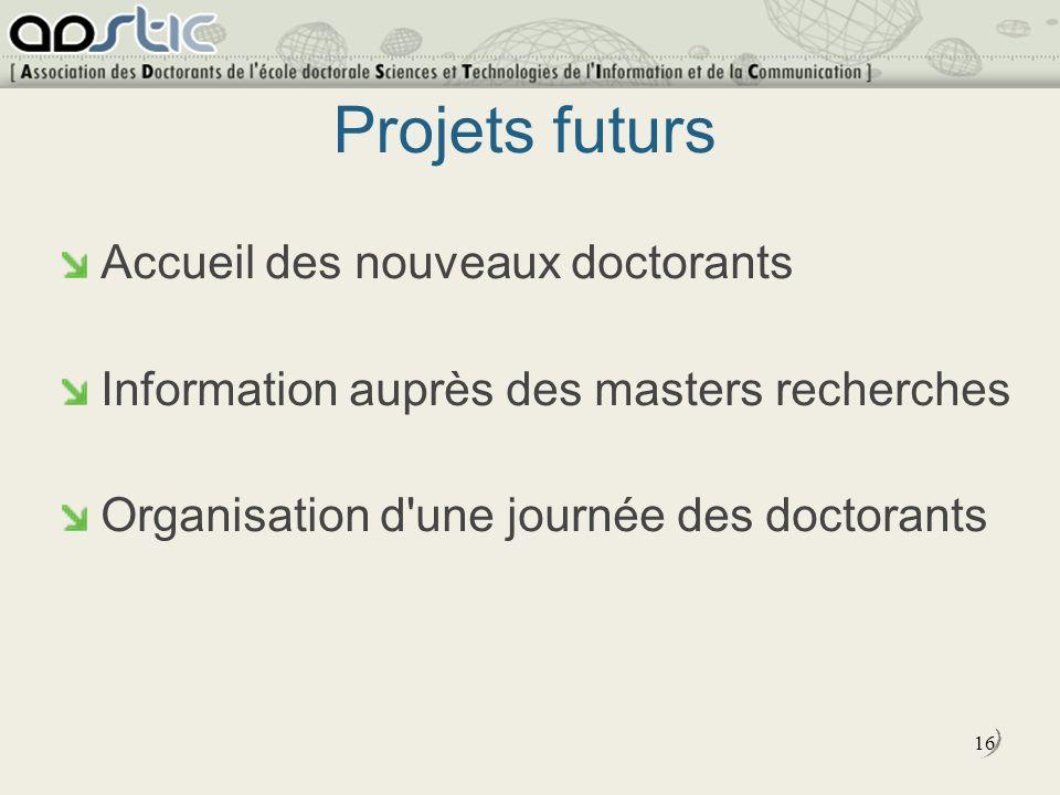 16 Projets futurs Accueil des nouveaux doctorants Information auprès des masters recherches Organisation d une journée des doctorants