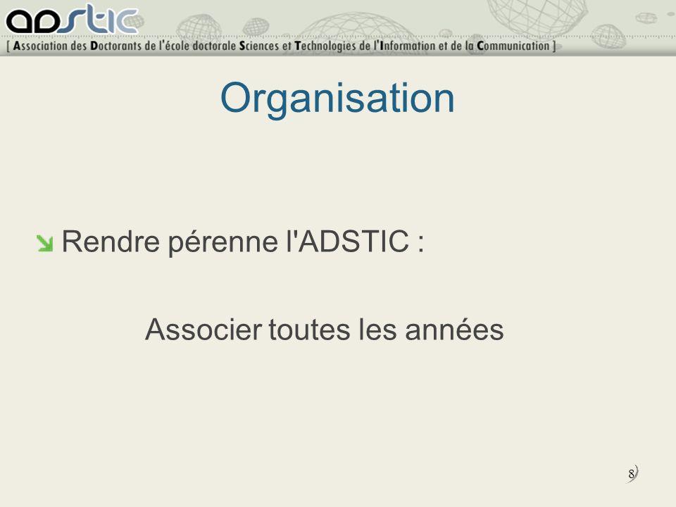 8 Organisation Rendre pérenne l ADSTIC : Associer toutes les années