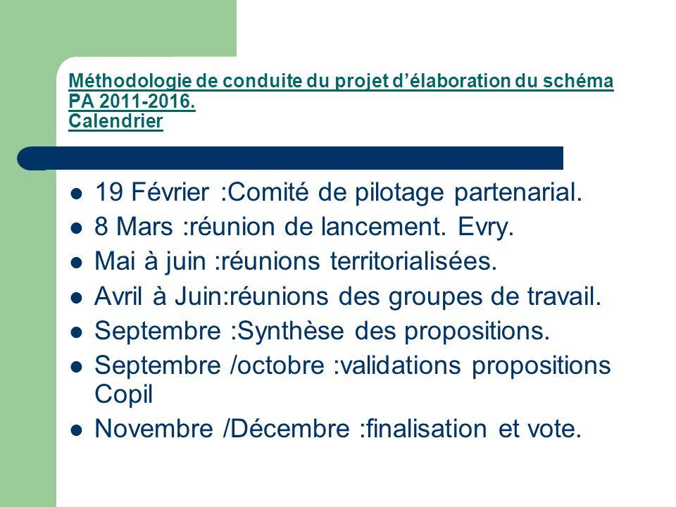 Méthodologie de conduite du projet délaboration du schéma PA 2011-2016. Calendrier 19 Février :Comité de pilotage partenarial. 8 Mars :réunion de lanc