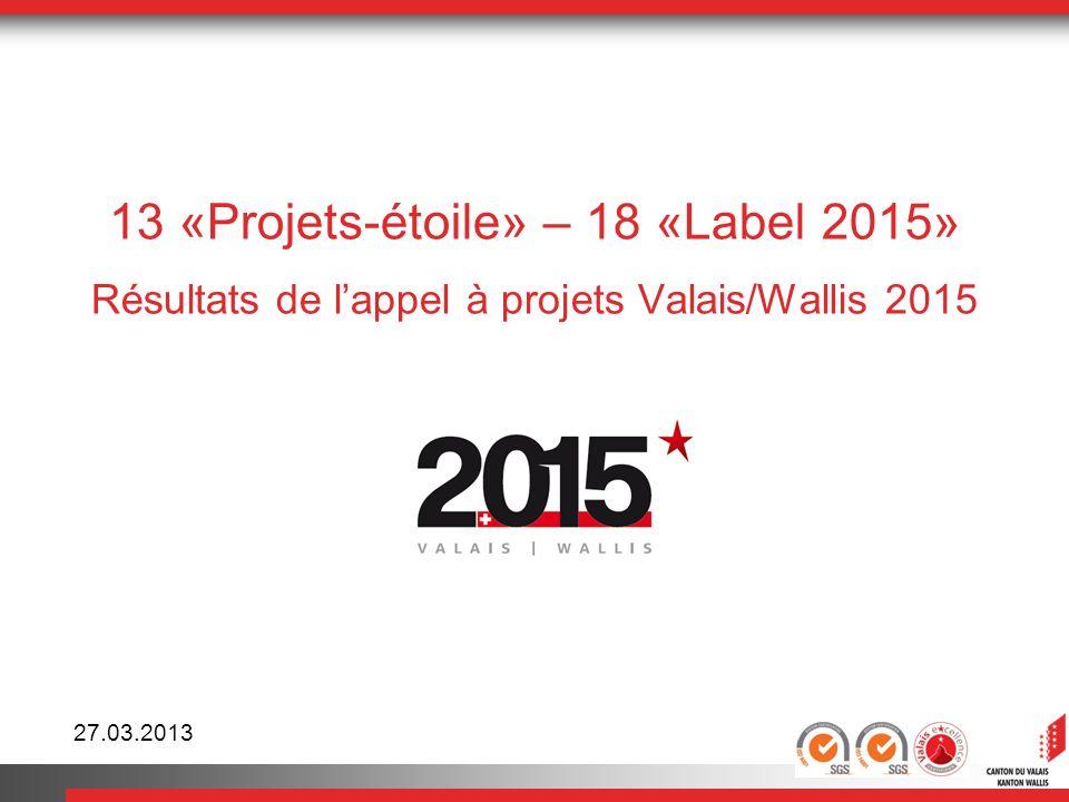 13 «Projets-étoile» – 18 «Label 2015» Résultats de lappel à projets Valais/Wallis 2015 27.03.2013