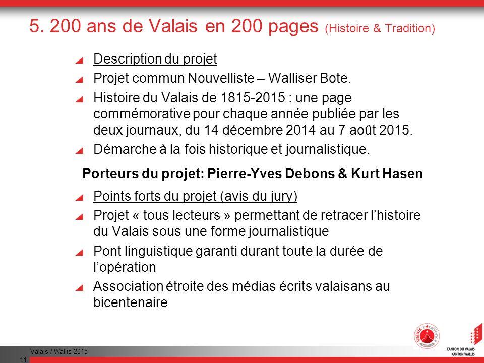 Valais / Wallis 2015 11 5. 200 ans de Valais en 200 pages (Histoire & Tradition) Description du projet Projet commun Nouvelliste – Walliser Bote. Hist