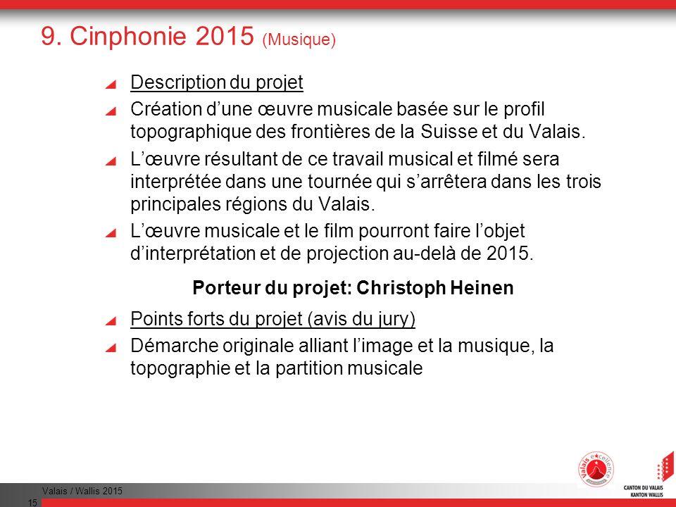 Valais / Wallis 2015 15 9. Cinphonie 2015 (Musique) Description du projet Création dune œuvre musicale basée sur le profil topographique des frontière