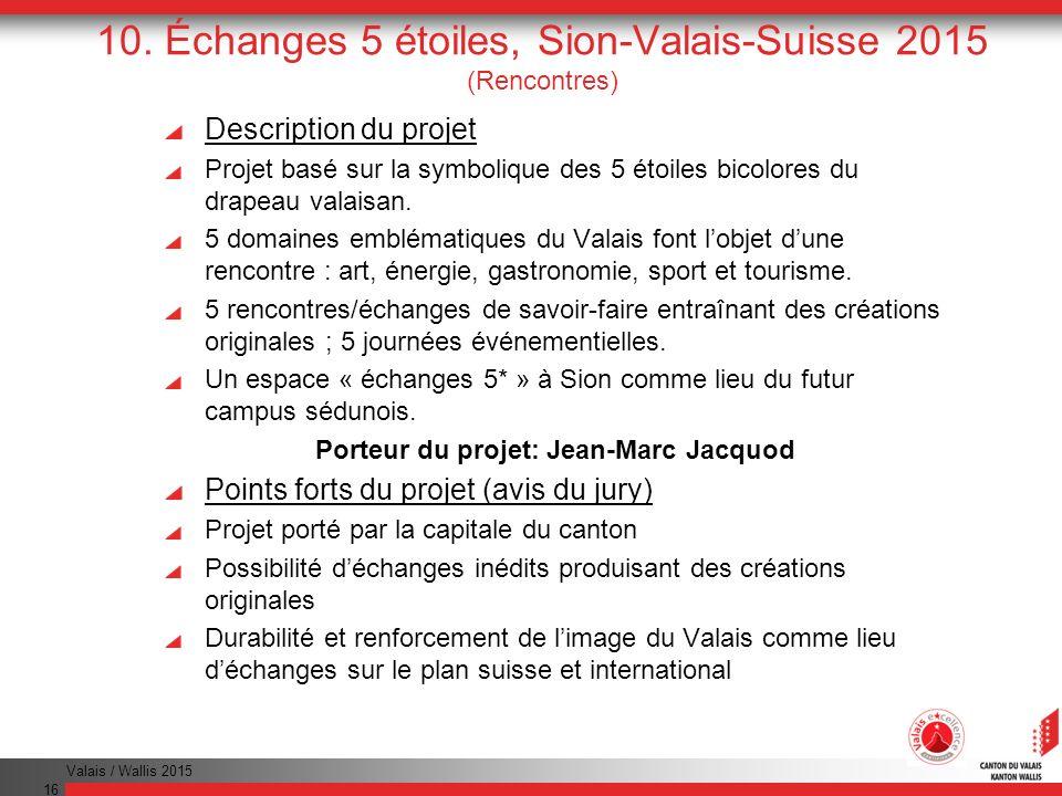 Valais / Wallis 2015 16 10. Échanges 5 étoiles, Sion-Valais-Suisse 2015 (Rencontres) Description du projet Projet basé sur la symbolique des 5 étoiles