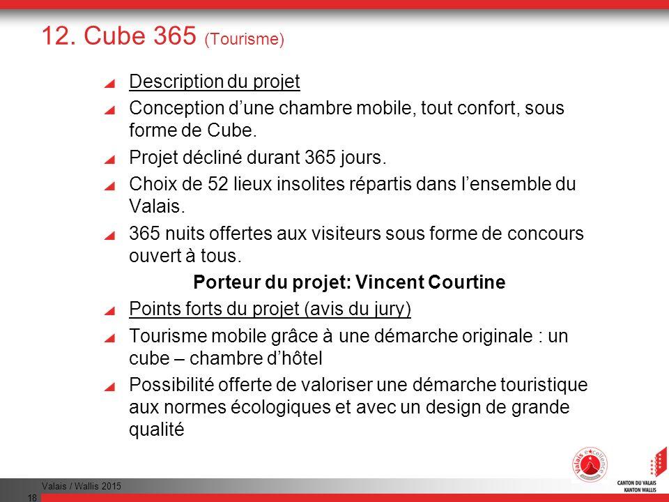 Valais / Wallis 2015 18 12. Cube 365 (Tourisme) Description du projet Conception dune chambre mobile, tout confort, sous forme de Cube. Projet décliné