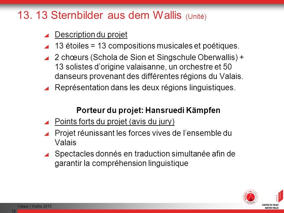 Valais / Wallis 2015 19 13. 13 Sternbilder aus dem Wallis (Unité) Description du projet 13 étoiles = 13 compositions musicales et poétiques. 2 chœurs