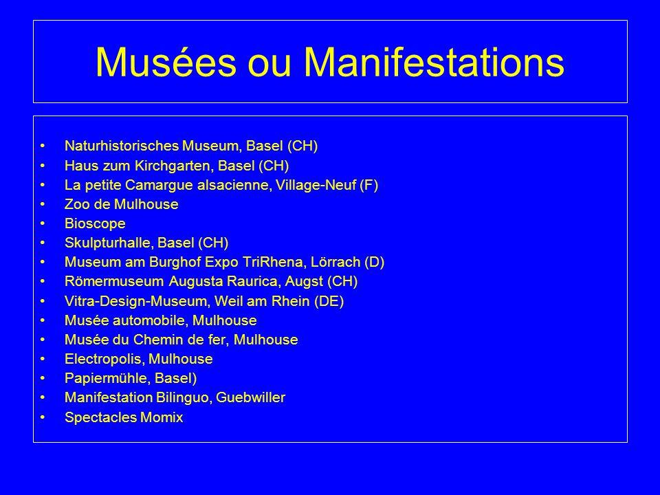 Musées ou Manifestations Naturhistorisches Museum, Basel (CH) Haus zum Kirchgarten, Basel (CH) La petite Camargue alsacienne, Village-Neuf (F) Zoo de