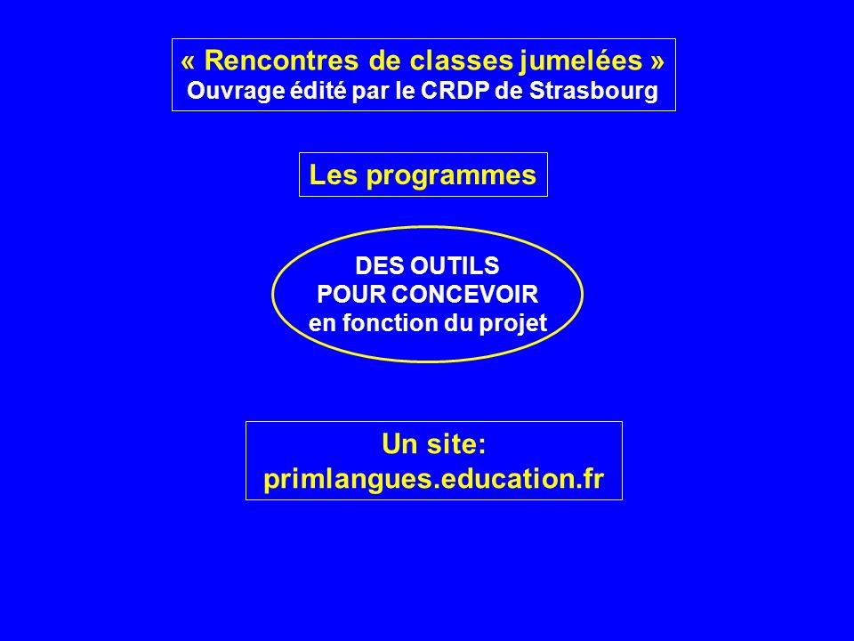 DES OUTILS POUR CONCEVOIR en fonction du projet Les programmes « Rencontres de classes jumelées » Ouvrage édité par le CRDP de Strasbourg Un site: pri