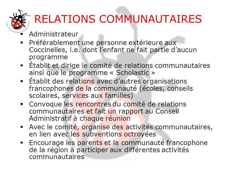 DÉVELOPPEMENT Administrateur Préférablement un membre externe de la communaut é, i.e.