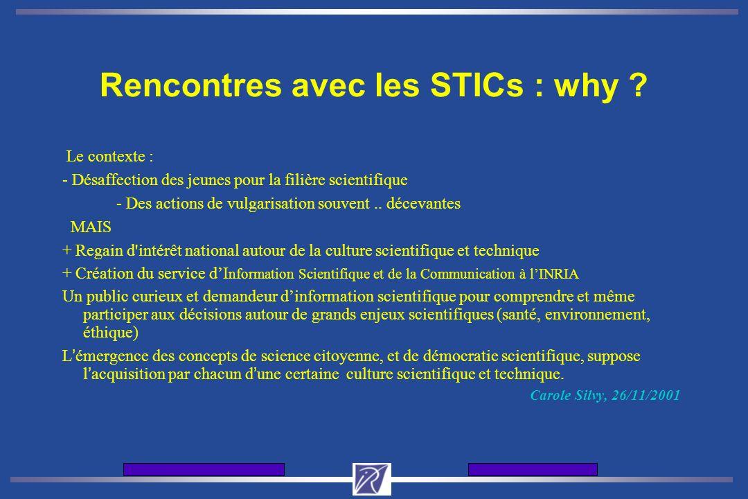 Journes d'accueil de l'INRIA12 et 13 dcembre 2001 Rencontres avec les STICs : why .