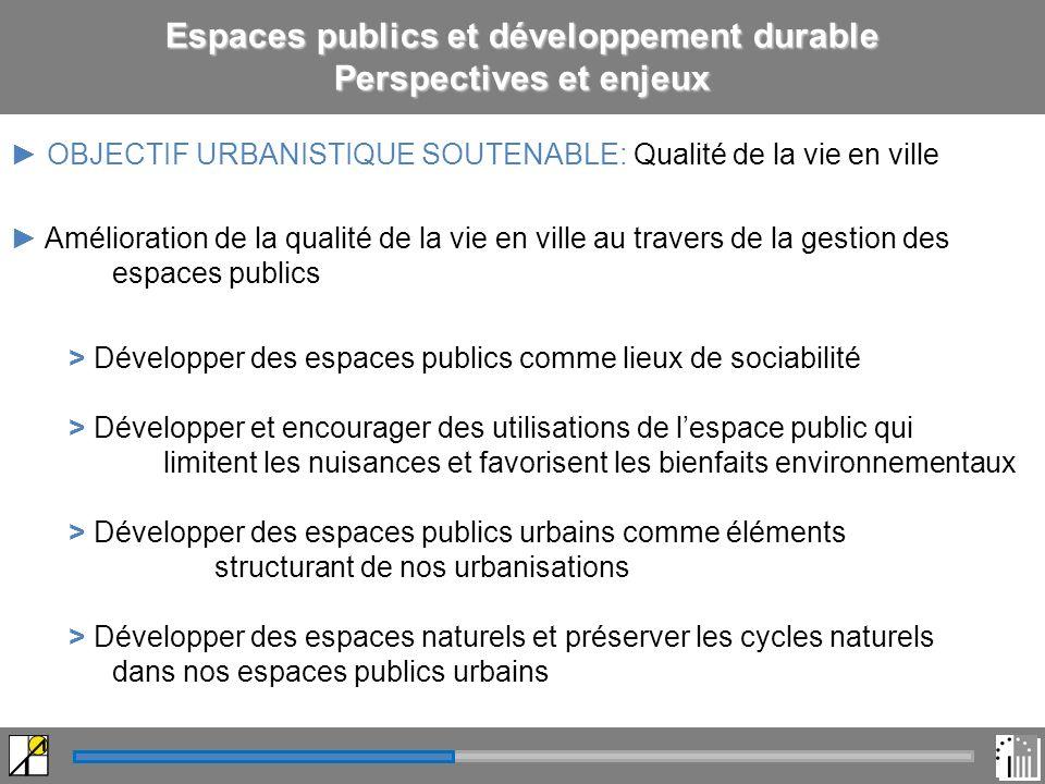 Espaces publics et développement durable Perspectives et enjeux OBJECTIF URBANISTIQUE SOUTENABLE: Qualité de la vie en ville Amélioration de la qualité de la vie en ville au travers de la gestion des espaces publics > Développer des espaces publics comme lieux de sociabilité > Développer et encourager des utilisations de lespace public qui limitent les nuisances et favorisent les bienfaits environnementaux > Développer des espaces publics urbains comme éléments structurant de nos urbanisations > Développer des espaces naturels et préserver les cycles naturels dans nos espaces publics urbains