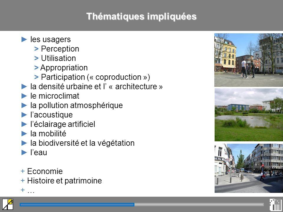 Thématiques impliquées les usagers > Perception > Utilisation > Appropriation > Participation (« coproduction ») la densité urbaine et l « architecture » le microclimat la pollution atmosphérique lacoustique léclairage artificiel la mobilité la biodiversité et la végétation leau + Economie + Histoire et patrimoine + …