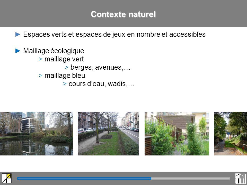 Contexte naturel Espaces verts et espaces de jeux en nombre et accessibles Maillage écologique > maillage vert > berges, avenues,… > maillage bleu > cours deau, wadis,…