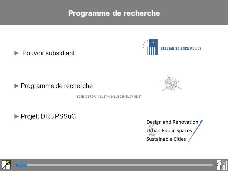 Pouvoir subsidiant Programme de recherche SCIENCE FOR A SUSTAINABLE DEVELOPMENT Projet: DRUPSSuC Programme de recherche