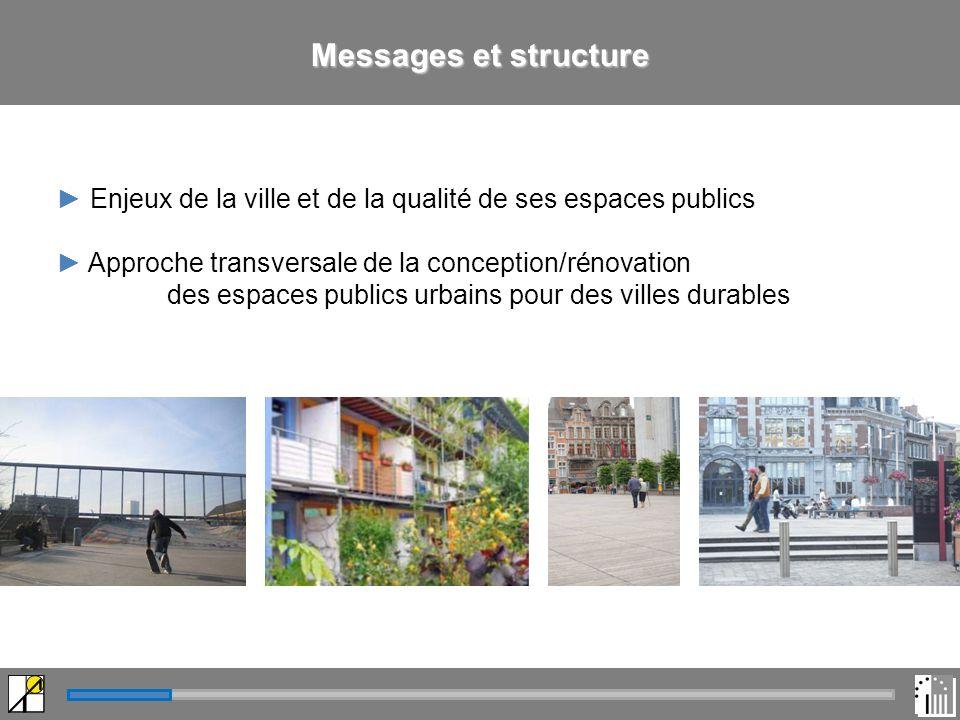Messages et structure Enjeux de la ville et de la qualité de ses espaces publics Approche transversale de la conception/rénovation des espaces publics urbains pour des villes durables