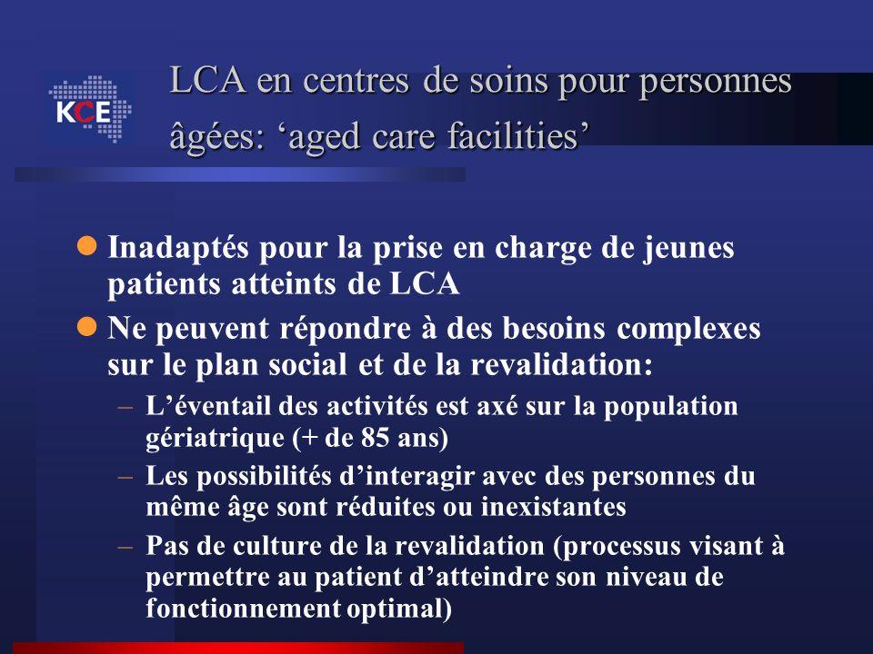 LCA en centres de soins pour personnes âgées: aged care facilities Inadaptés pour la prise en charge de jeunes patients atteints de LCA Ne peuvent rép