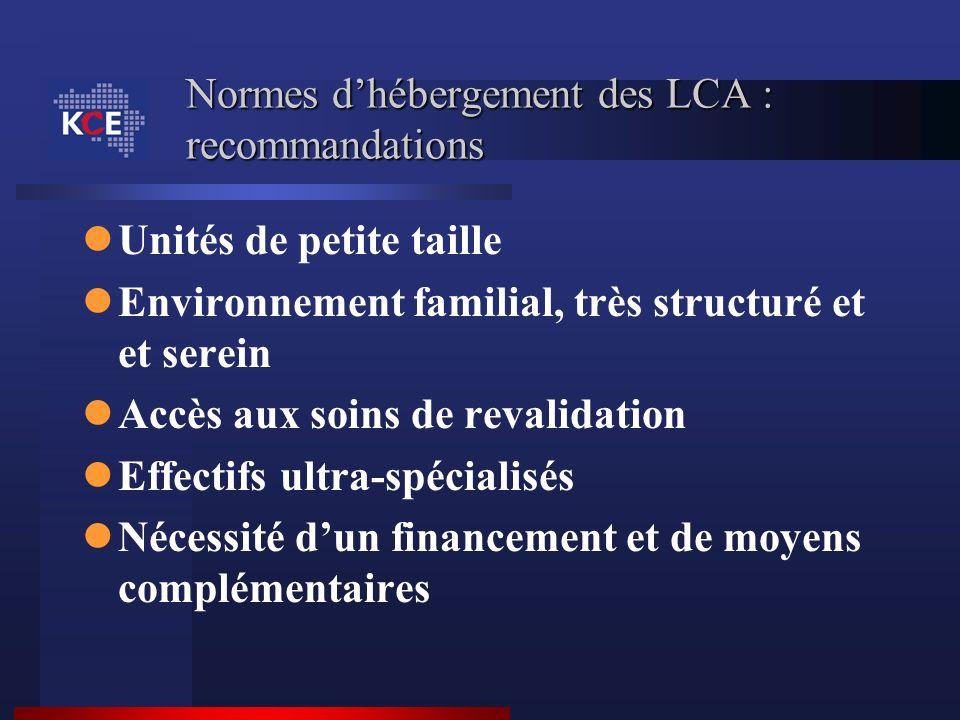 Normes dhébergement des LCA : recommandations Unités de petite taille Environnement familial, très structuré et et serein Accès aux soins de revalidat