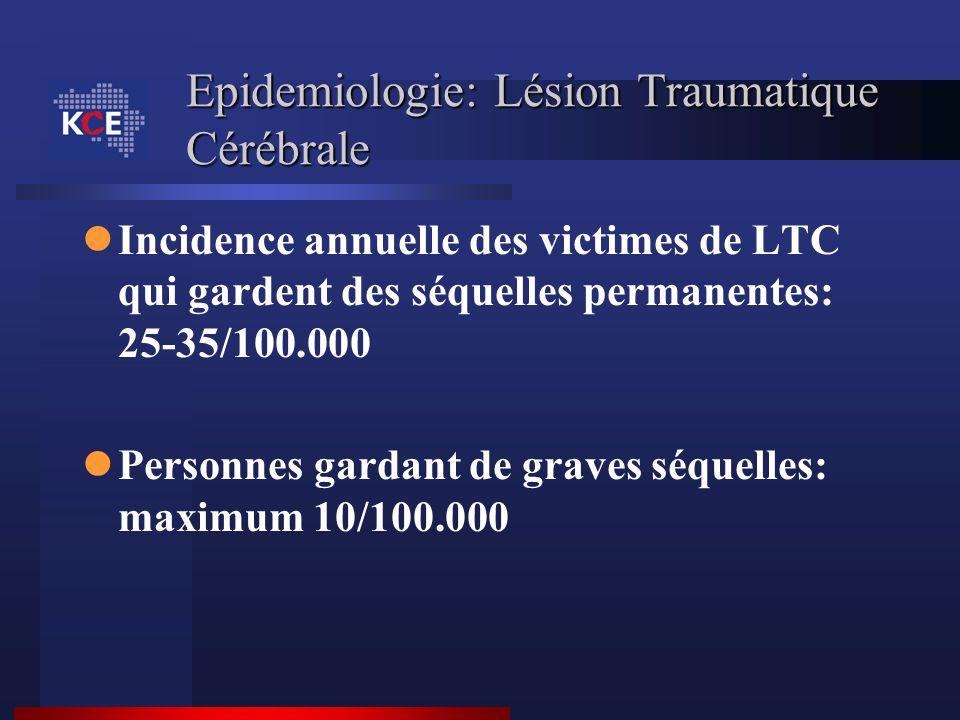 Epidemiologie: Lésion Traumatique Cérébrale Incidence annuelle des victimes de LTC qui gardent des séquelles permanentes: 25-35/100.000 Personnes gard