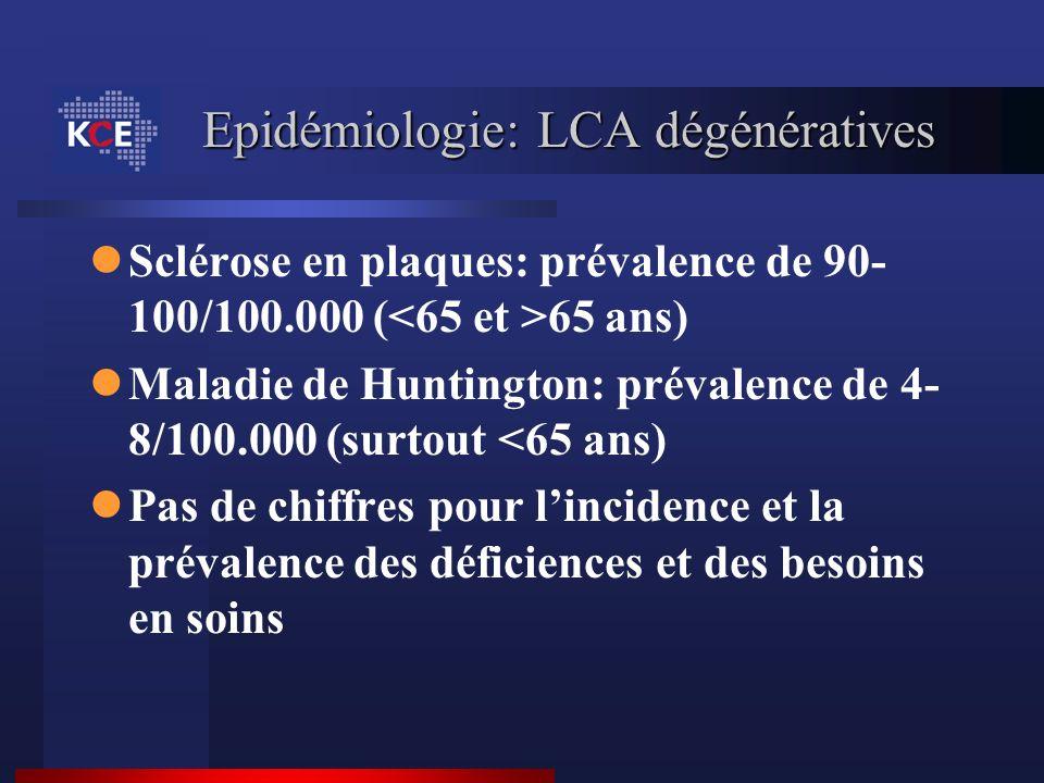 Epidémiologie: LCA dégénératives Sclérose en plaques: prévalence de 90- 100/100.000 ( 65 ans) Maladie de Huntington: prévalence de 4- 8/100.000 (surto