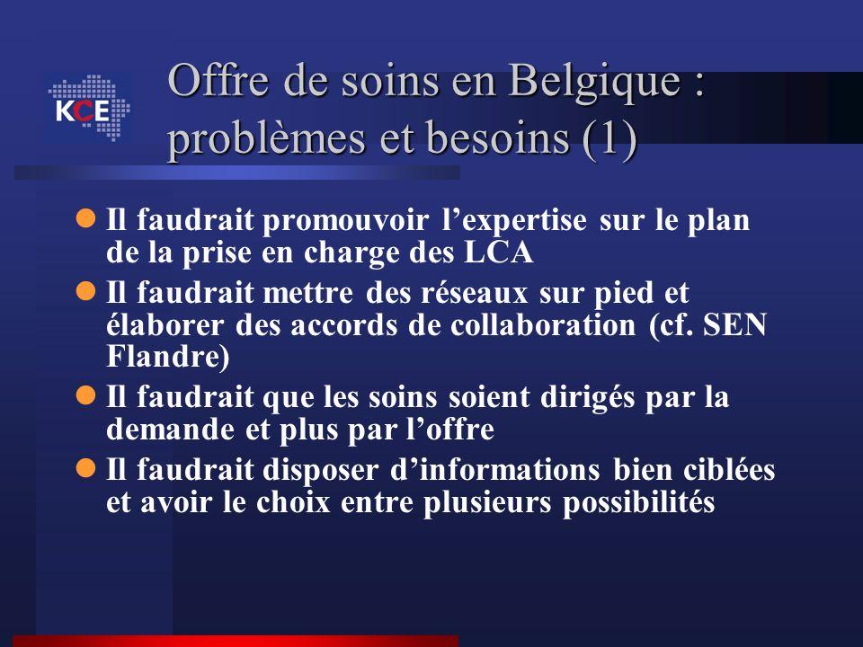 Offre de soins en Belgique : problèmes et besoins (1) Il faudrait promouvoir lexpertise sur le plan de la prise en charge des LCA Il faudrait mettre d
