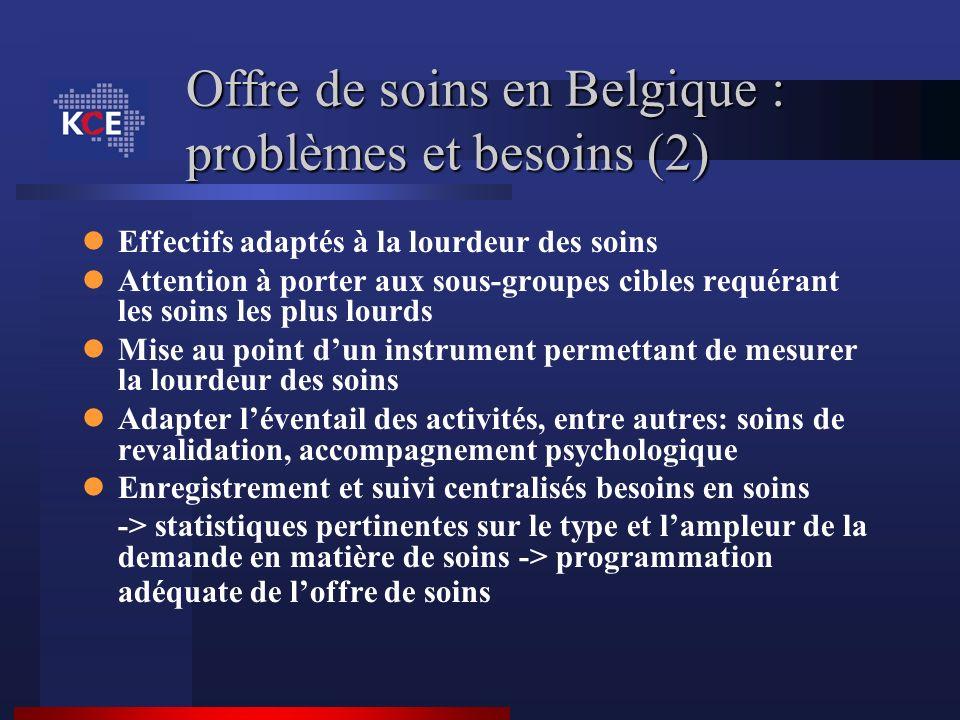 Offre de soins en Belgique : problèmes et besoins (2) Effectifs adaptés à la lourdeur des soins Attention à porter aux sous-groupes cibles requérant l