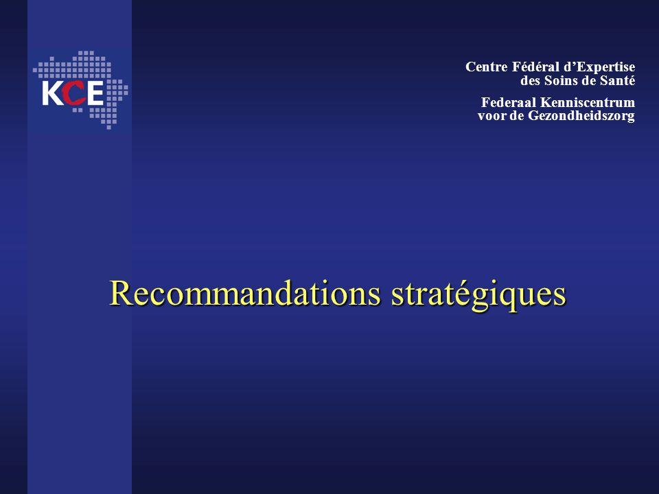 Recommandations stratégiques Centre Fédéral dExpertise des Soins de Santé Federaal Kenniscentrum voor de Gezondheidszorg