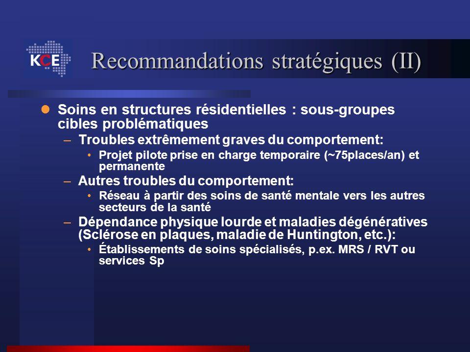 Recommandations stratégiques (II) Soins en structures résidentielles : sous-groupes cibles problématiques –Troubles extrêmement graves du comportement