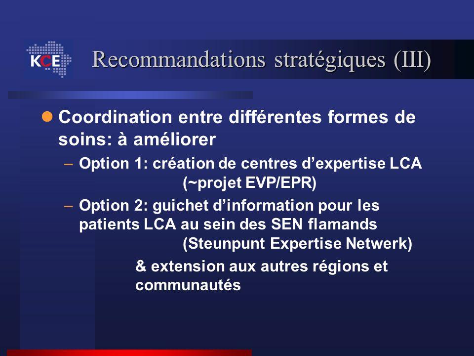 Recommandations stratégiques (III) Coordination entre différentes formes de soins: à améliorer –Option 1: création de centres dexpertise LCA (~projet