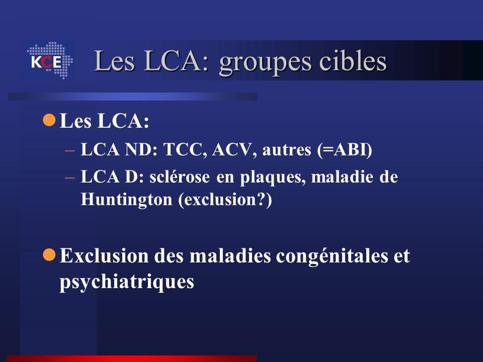 Les LCA: groupes cibles Les LCA: –LCA ND: TCC, ACV, autres (=ABI) –LCA D: sclérose en plaques, maladie de Huntington (exclusion?) Exclusion des maladi