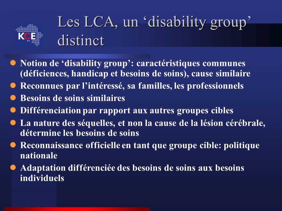 Les LCA, un disability group distinct Notion de disability group: caractéristiques communes (déficiences, handicap et besoins de soins), cause similai
