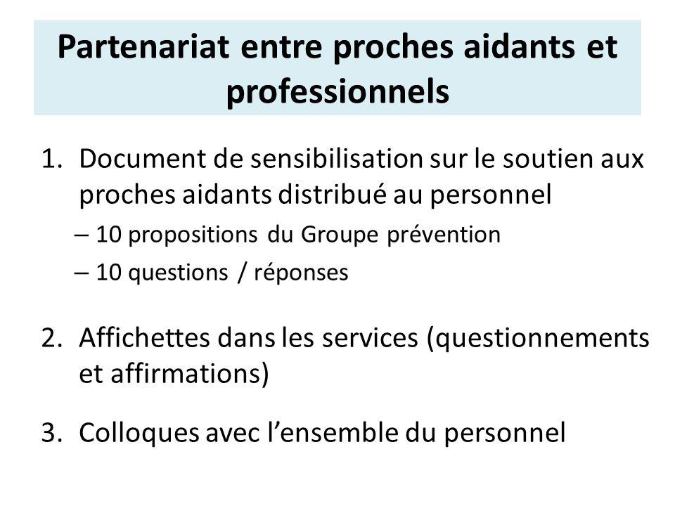Partenariat entre proches aidants et professionnels 1.Document de sensibilisation sur le soutien aux proches aidants distribué au personnel – 10 propo